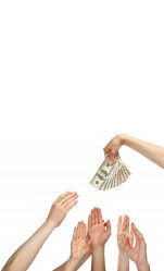 Hands reaching for money picture