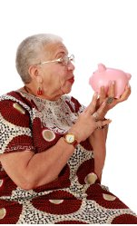 Lady with piggy bank picture